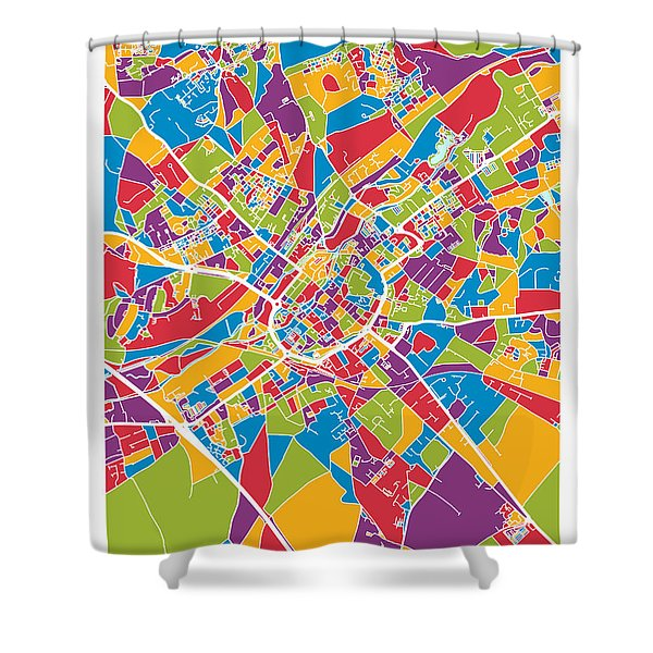Canterbury England City Map Shower Curtain
