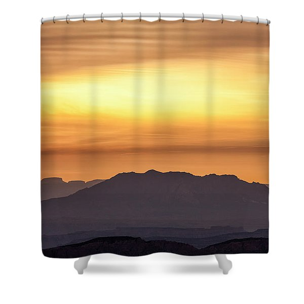 Canyon Layers With Fiery Sunrise Shower Curtain