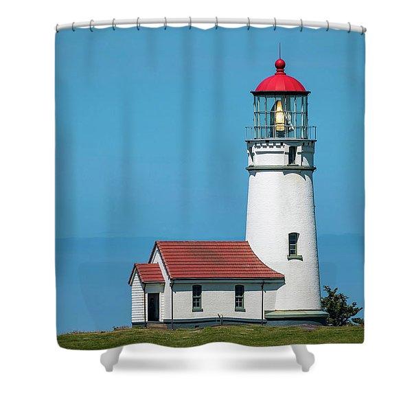Cape Blanco Lighthouse At Cape Blanco, Oregon Shower Curtain
