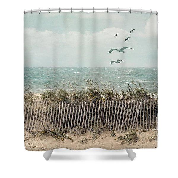 Cape Cod Beach Scene Shower Curtain