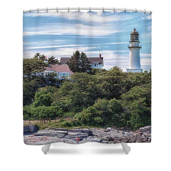 Cape Elizabeth Lighthouse Shower Curtain