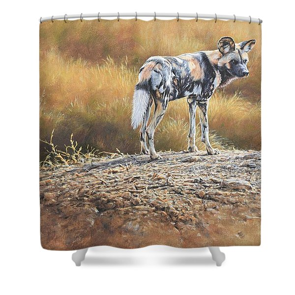 Shower Curtain featuring the painting Cape Hunting Dog by Alan M Hunt
