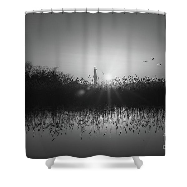 Cape May Light Bw Shower Curtain
