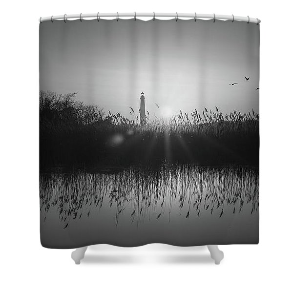 Cape May Light Bw Panorama  Shower Curtain