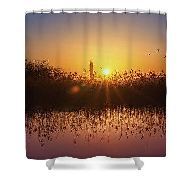 Cape May Light Panorama  Shower Curtain