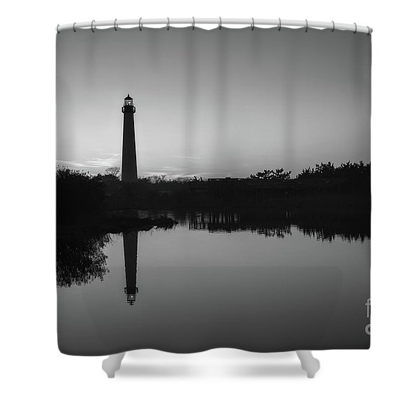 Cape May Lighthouse At Blue Hour Bw  Shower Curtain