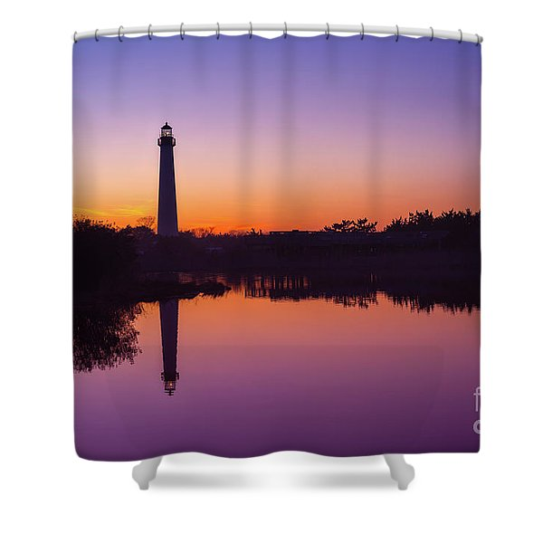 Cape May Lighthouse At Blue Hour  Shower Curtain