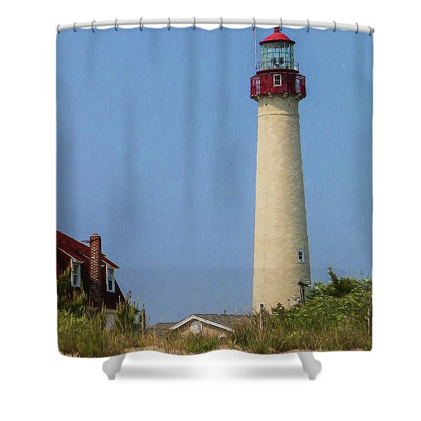 Cape May Lighthouse Vertical Shower Curtain