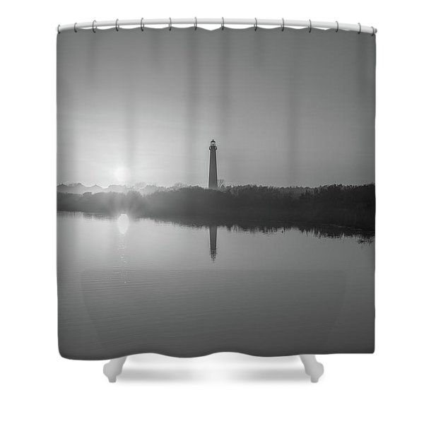 Cape May Reflections Bw Shower Curtain