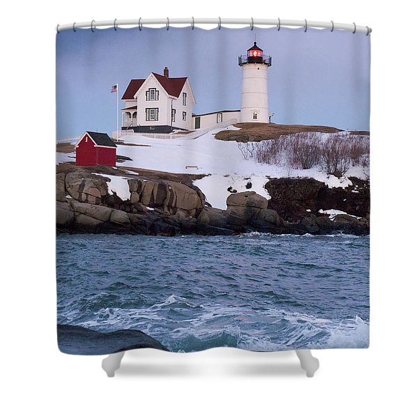 Cape Neddick Light At Dusk, York, Maine 21073 Shower Curtain