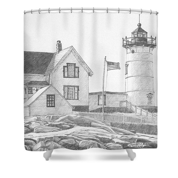 Shower Curtain featuring the drawing Cape Neddick Light House Drawing by Dominic White