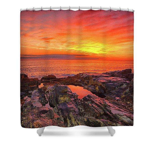 Cape Neddick Sunrise Shower Curtain