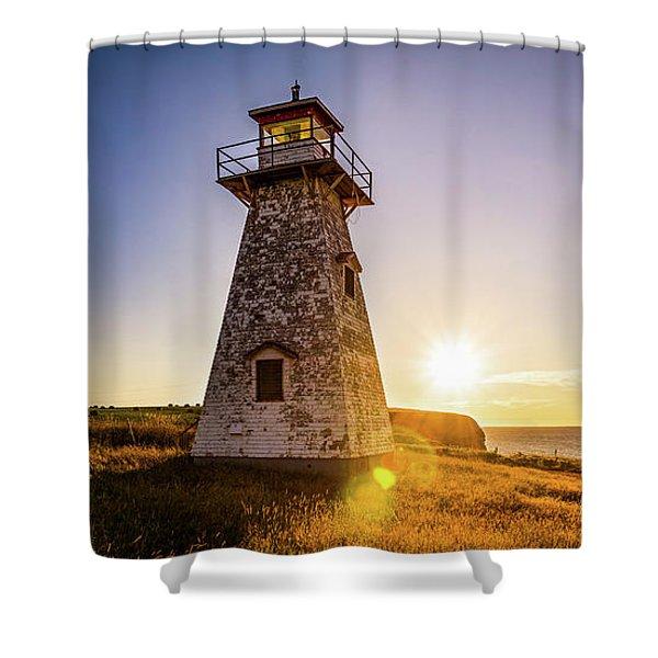 Cape Tryon Light Sunset Shower Curtain