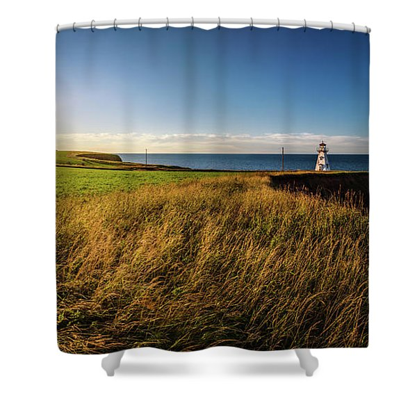 Cape Tryon Lighthouse Sunset Shower Curtain