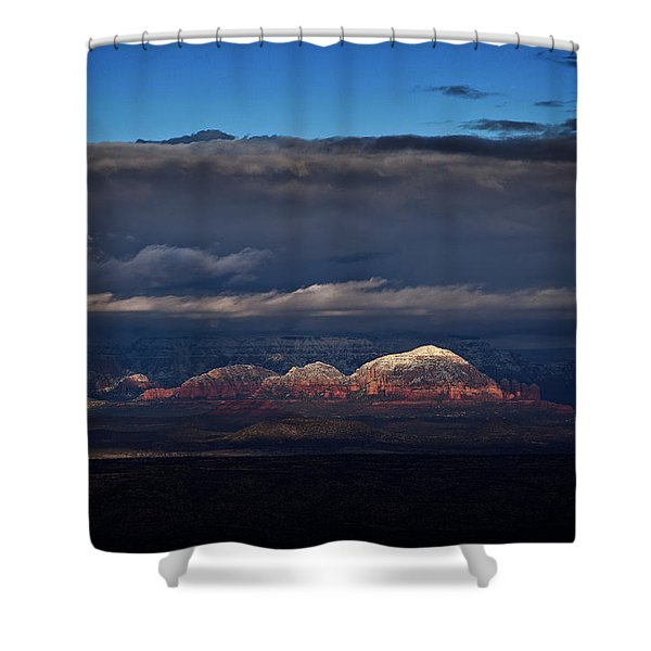 Capitol Butte In Sedona With Snow Shower Curtain