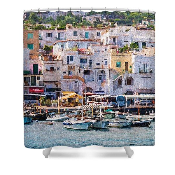 Capri Boat Harbor Shower Curtain