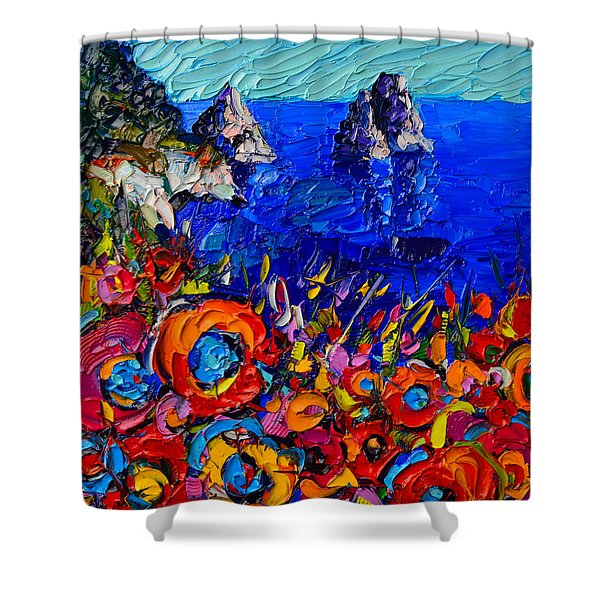 Capri Faraglioni Italy Colors Modern Impressionist Palette Knife Oil Painting By Ana Maria Edulescu  Shower Curtain