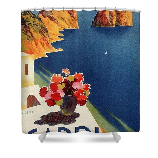 Capri Island, Bay Of Naples, Italy - Retro Travel Poster - Vintage Poster Shower Curtain