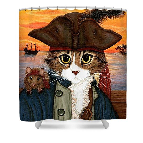 Captain Leo - Pirate Cat And Rat Shower Curtain