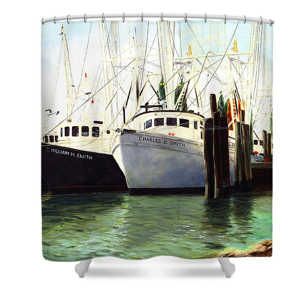 Captains Smith Morehead City North Carolina Original Fine Art Oil Painting Shower Curtain