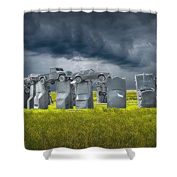 Car Henge In Alliance Nebraska After England's Stonehenge Shower Curtain