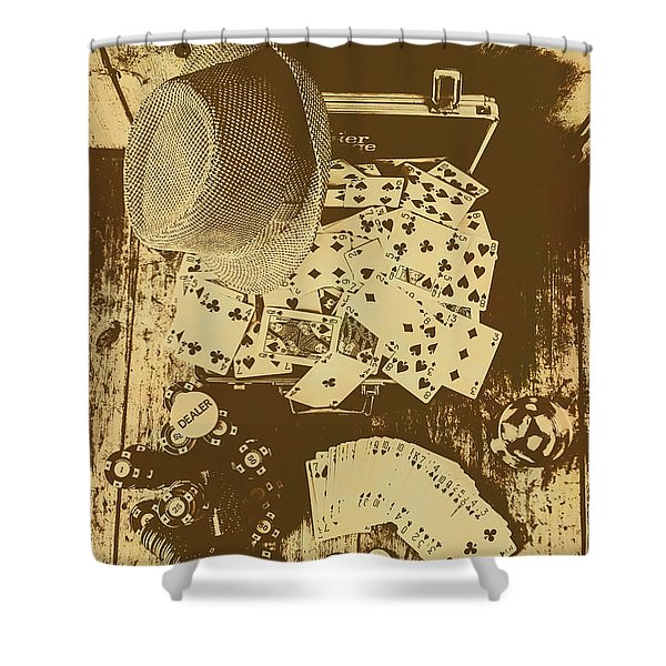 Card Games And Vintage Bets Shower Curtain