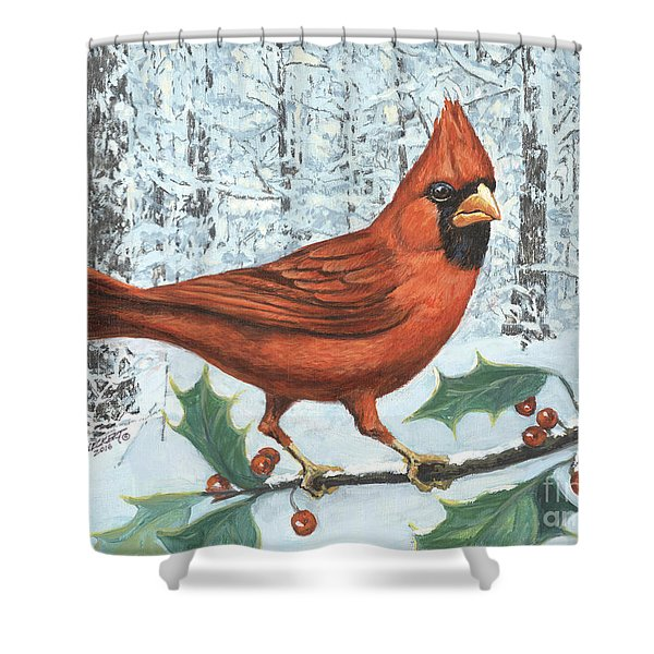 Cardinal Bird Shower Curtain