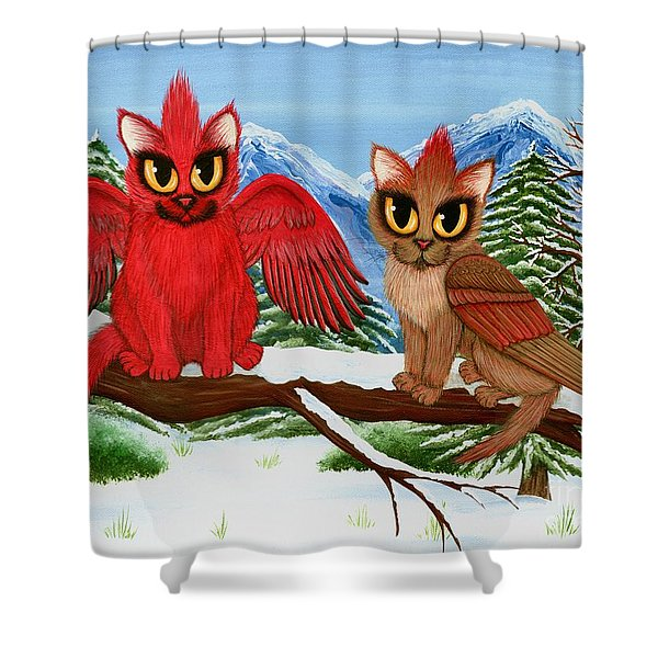 Cardinal Cats Shower Curtain