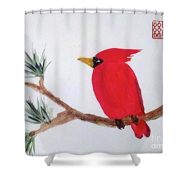 Cardinal In My Backyard Shower Curtain