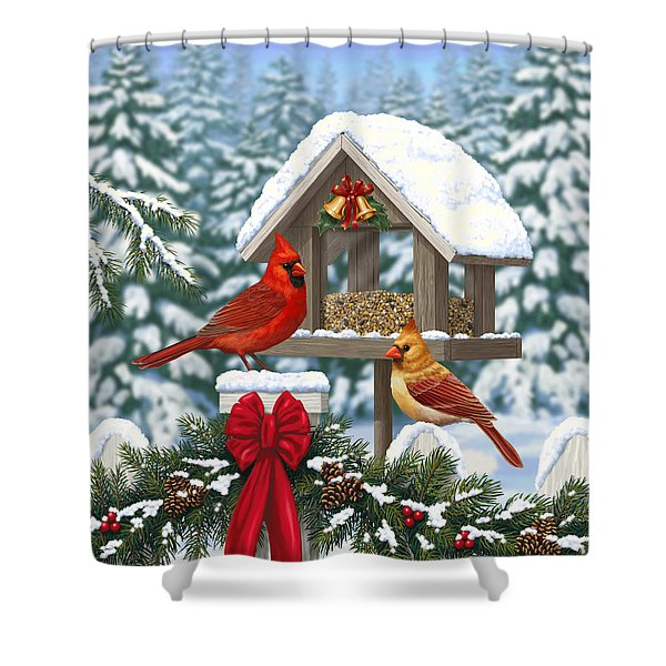Cardinals Christmas Feast Shower Curtain