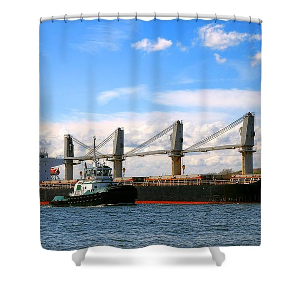 Cargo Ship And Tugboats  Shower Curtain