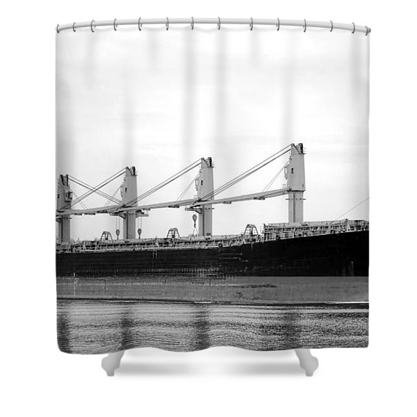 Cargo Ship On River Shower Curtain