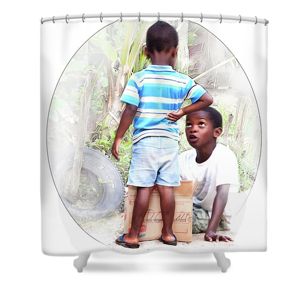 Caribbean Kids Illustration Shower Curtain