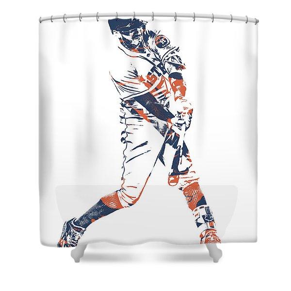 Carlos Correa Houston Astros Pixel Art 1 Shower Curtain