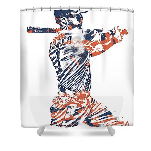 Carlos Correa Houston Astros Pixel Art 2 Shower Curtain