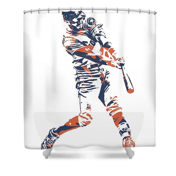 Carlos Correa Houston Astros Pixel Art 3 Shower Curtain