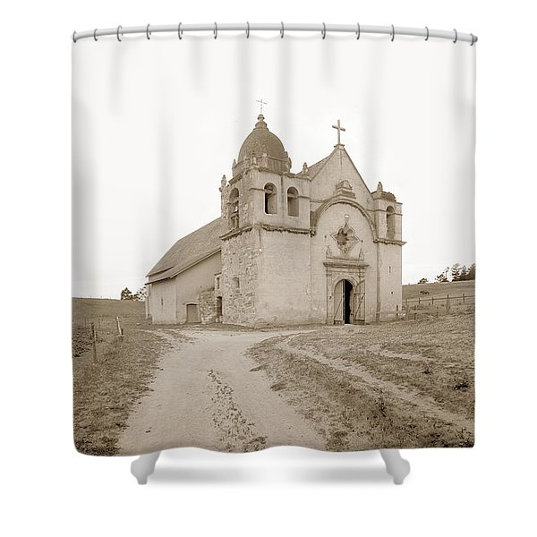 Carmel Mission South Side Circa 1915 Shower Curtain
