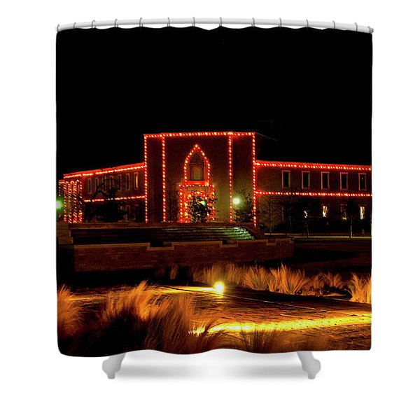 Shower Curtain featuring the photograph Carol Of Lights At Science Building by Mae Wertz