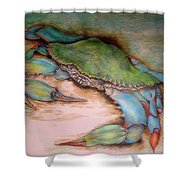 Carolina Blue Crab Shower Curtain