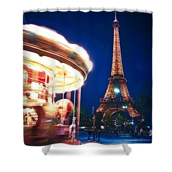 Carousel And Eiffel Tower Shower Curtain