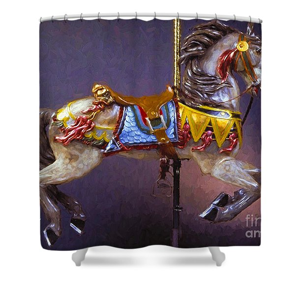 Carousel Dreams Iv Impasto Painting Shower Curtain
