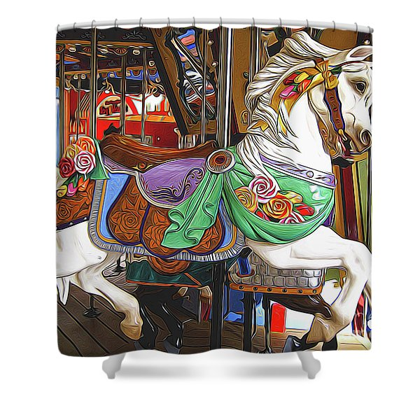 Carousel Horse Side View Shower Curtain