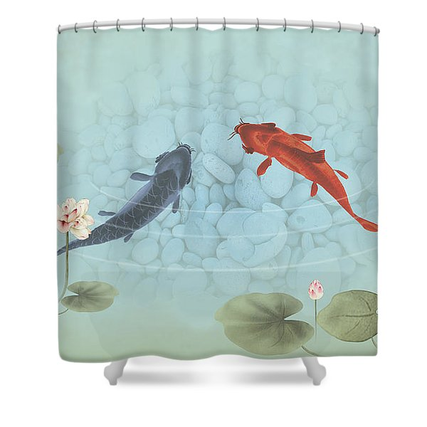 Carp In Lily Pond Shower Curtain