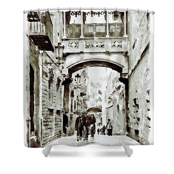 Carrer Del Bisbe - Barcelona Black And White Shower Curtain