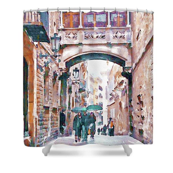 Carrer Del Bisbe - Barcelona Shower Curtain