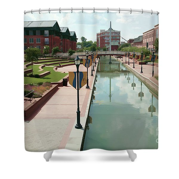 Carroll Creek Park In Frederick Maryland With Watercolor Effect Shower Curtain