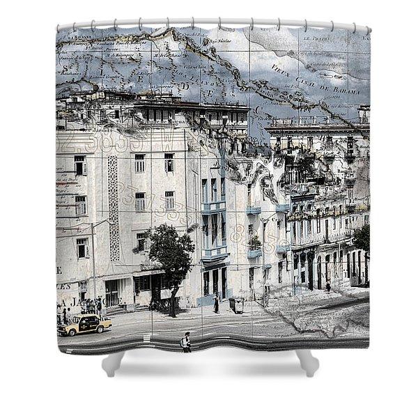 Carte Isle De Cuba Shower Curtain