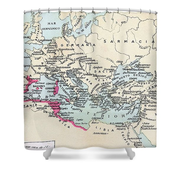 Carthaginian Colonies And Area Of Shower Curtain
