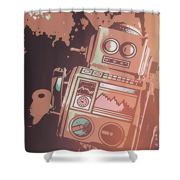 Cartoon Cyborg Robot Shower Curtain