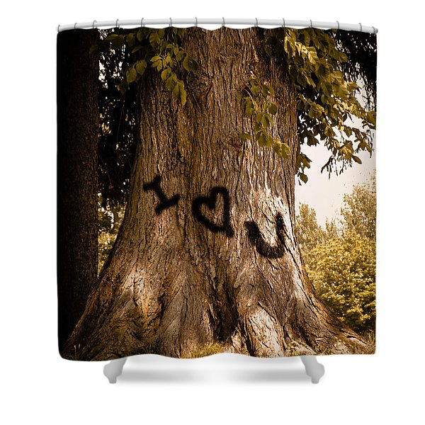 Carve I Love You In That Big White Oak Shower Curtain